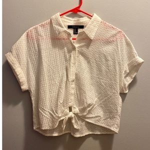 White perforated blouse